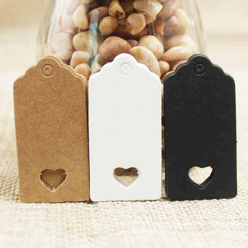 200pcs  4*2cm Hot Sale New Vintage Paper Heart Hollow Gift Tag White/kraft Jewelry Label Tag For Gift /wedding Products
