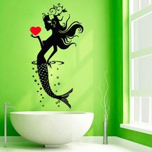 Wall Decal Vinyl Beauty Mermaid Sticker Sea Girl With Heart Bathroom Living Room Bedroom Art Spa Wall Decor Nursery Mural WW-336 шлейф samsung galaxy tab 3 8 0 wi fi sm t310 с разъемом зарядки