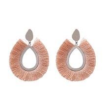 цена на Vintage Oval Hoop Tassel  Earrings For Women Handmade Bohemian Geometry Fringe Drop Dangle Earring Party Wedding Jewelry Gifts