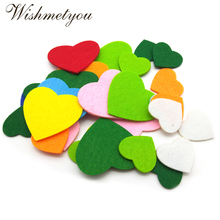 цены WISHMETYOU 30pcs Colorful Non-Woven Love Heart Felt Sewing Clothes Handmade Wedding Decor Home Room Scrapbooking Felt Craft Felt