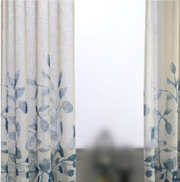 Blue leaves printed curtains for the living room bedroom. Wear hook or wear tube use