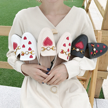 Women Mules Summer Slippers Flip Flops Heart Shape Beach Shoes sandalias mujer 2019
