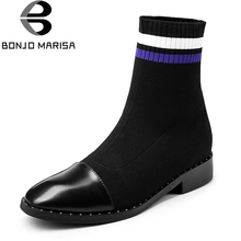 BONJOMARISA Brand 2019 New Arrival Ankle Sock Booties Women Genuine Leather Autu