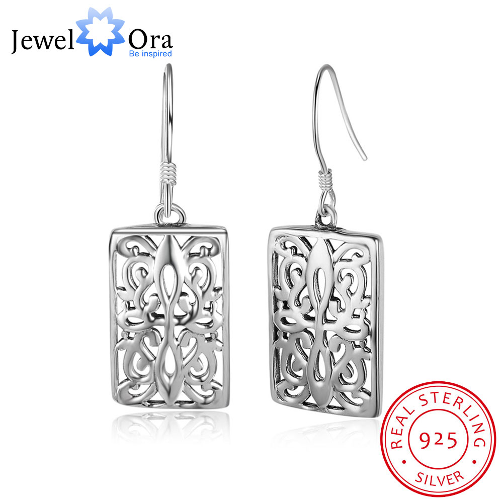 New Women 925 Sterling Silver Drop Earrings With Mysteric Pattern Vintage Style Dangler Gift (JewelOra EA101998) серьги висячие vintage style pentacle earrings