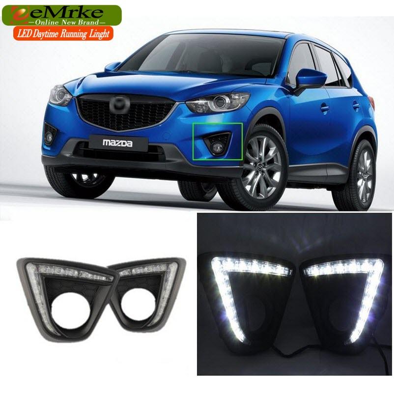 eeMrke Car LED DRL For Mazda CX 5 CX-5 2011- Xenon White DRL Fog Cover Daytime Running Lights Kits