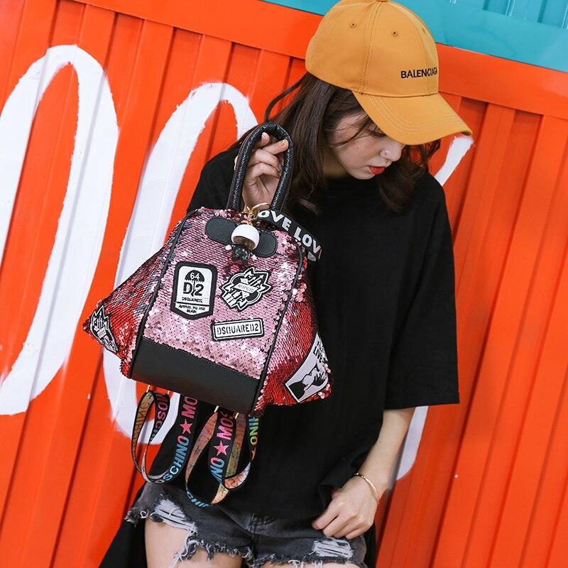 backpack women Fashion Women Bling Shiny Sequins Sparkling Shoulder Bags Larger Capacity Drawstring Bag backpack 66