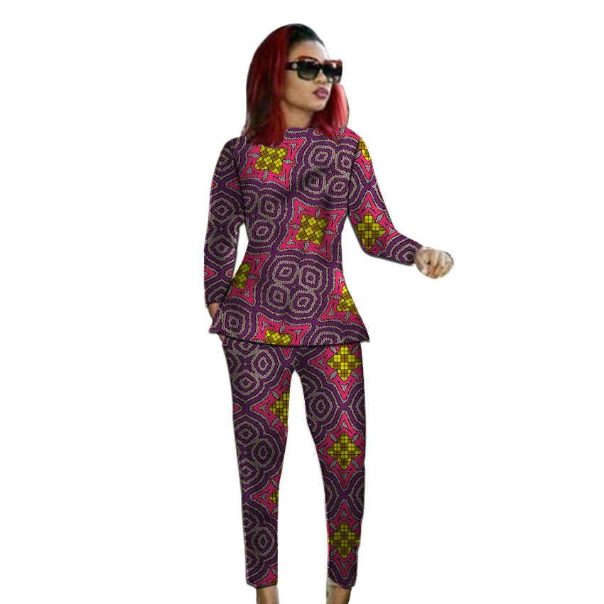 Нигерийский стиль Модные африканские наряды с принтом женские Дашики соответствующие рубашки и брюки на заказ Африка одежда