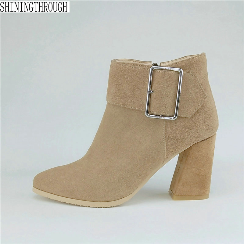 Suede leather Women Ankle Boots ankle strap buckle high heels Autumn Winter Ladies dress work Shoes Woman Brand Basic Boots