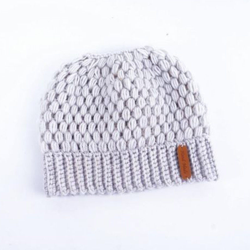 Winter Knitting Hats Winter Women Hat Ladies Girl Stretch Knit Hat With Tag Messy Bun Ponytail Beanie Holey Warm Hats Caps 6