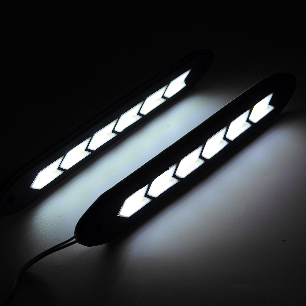 2Pcs LED Car Daytime Running Light White Universal Daylight DRL Fog Driving Lamp 12V Silicone Car Styling Hot Sale 1 pair 12 led strip flexible snake style eagle eye car drl daytime running light driving daylight safety day fog lamp