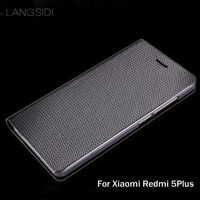 LANGSIDI Brand Genuine Leather Phone Case Diamond Pattern Clamshell Handphone Shell For Xiaomi Redmi 5Plus All