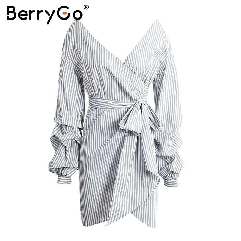 BerryGo, сексуальное летнее платье в клетку с открытыми плечами, рубашка, длинный рукав, v-образный вырез, галстук-бабочка, мини платье, короткое платье в полоску, vestidos, короткое платье