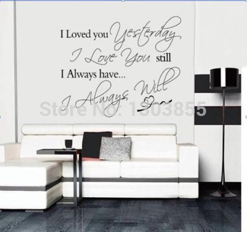 2016 new arrival New Love You Always Wall Quotes Decals Removable Stickers Home Decor Black Vinyl asd