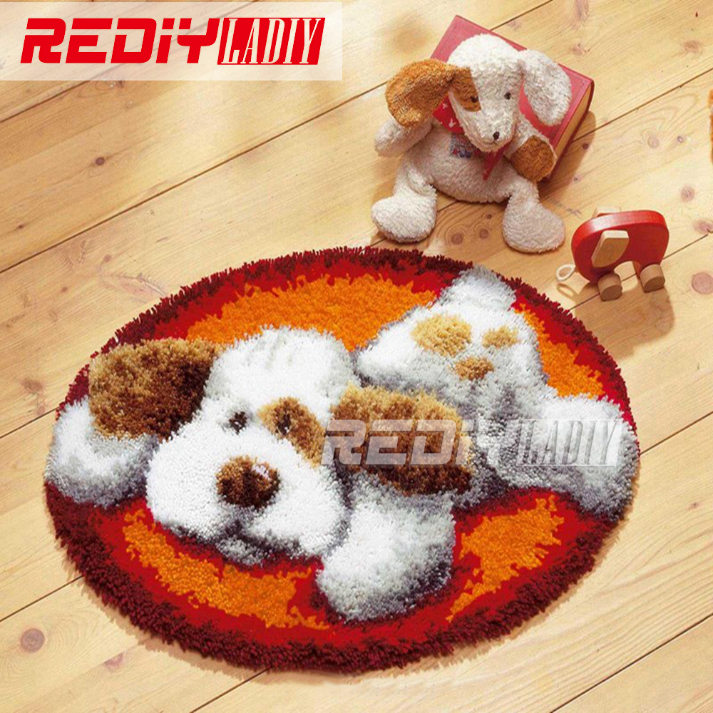 Latch Hook Rug Kits DIY Needlework Unfinished Crocheting Rug Yarn Cushion  Mat White Dog At Rest
