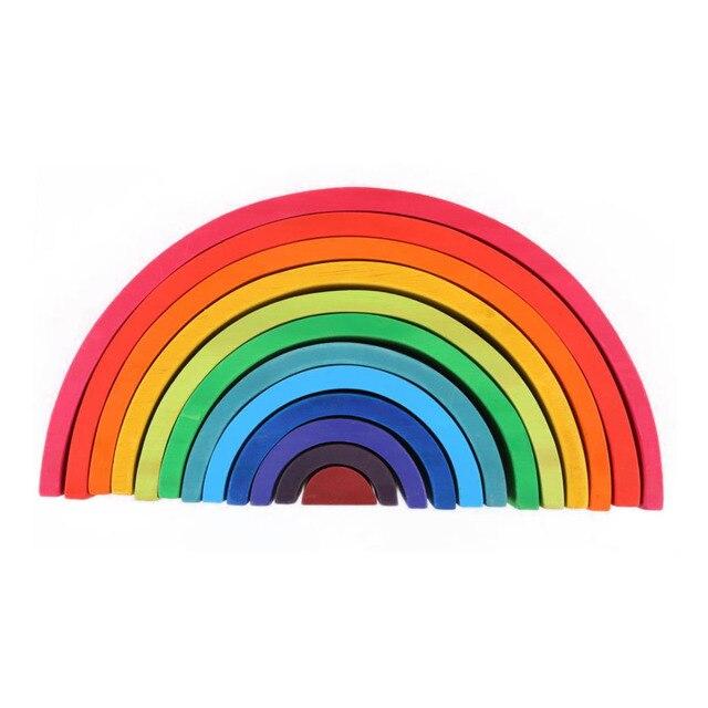 12 unids/set Unisex madera educativo Montessori arcoíris rompecabezas color arco puente construcción formas clasificación juguete preescolar