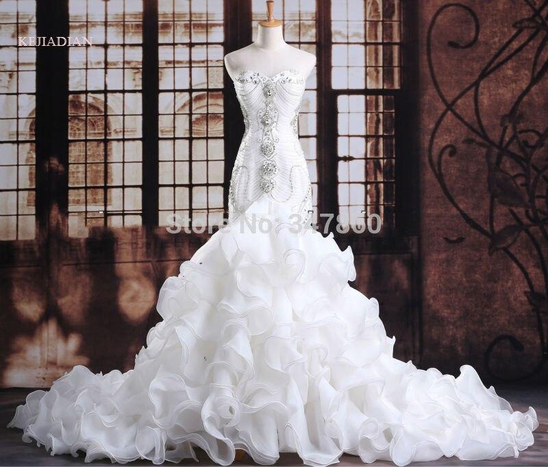 Luxurious crystals mermaid wedding dress Expensive bridal vestido de noiva robe de mariage vestido de noiva