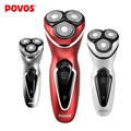 POVOS Rechargeable Men Triple Blade Ergonomic Design Electric Shavers Head Waterproof Razor with Pop-up Trimmer PW751/750