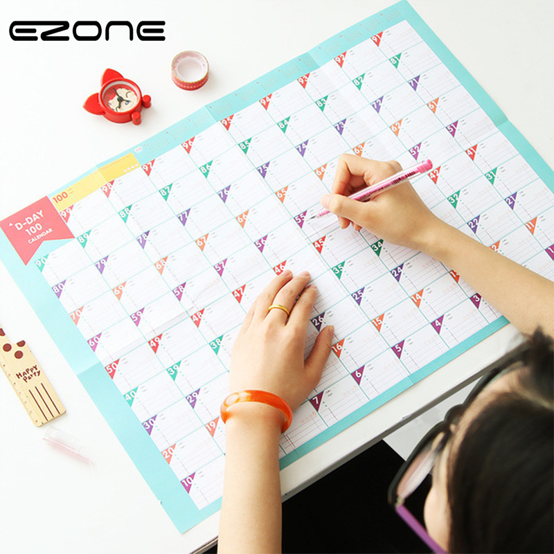 EZONE 1PC 100-Days Schedule Calendar Target Schedule Fitness Study Work Schedule Learning Schedule Periodic Planner Countdown
