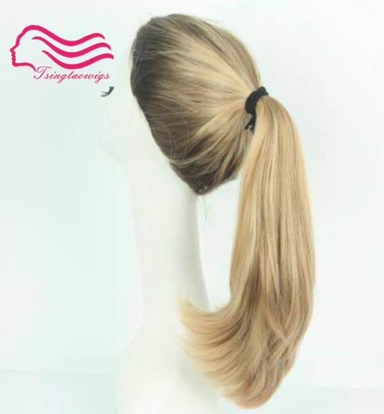 Wonder wig 100 european remy blonde sports bandfall Pony wig unprocess hair kosher Wig free shipping