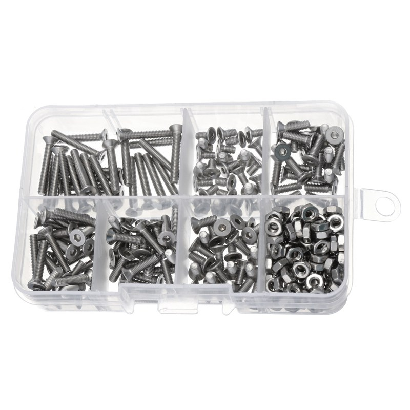 MTGATHER 250pcs M3 Stainless Steel Head Screws Bolts With Hex Nuts Assortment Kits Set 304 Stainless Steel Hot Sale 105pcs set metric m3 screws and bolts hex steel kit hex m3 screw nuts carbon black box free shipping