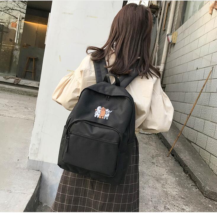 Free Shipping Helan H1-h3 Simple Backpack Backpack Female Hoop Canvas Schoolbag #1