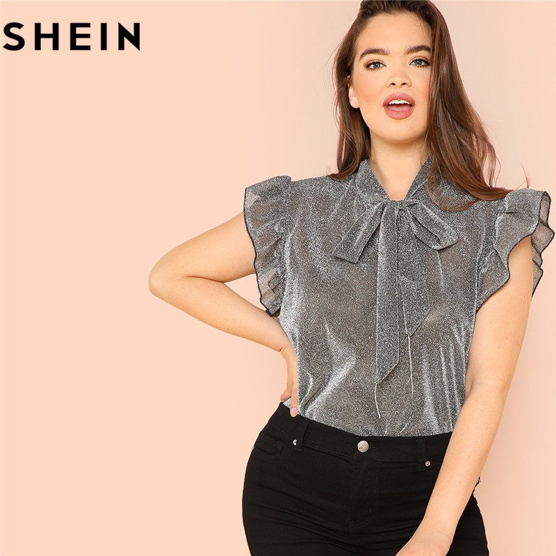 SHEIN Grey Ruffle Trim Tie Neck Plus Size Women Thin Blouses Summer Polyester Sleeveless Elegant Office Lady Solid Top Blouse 1