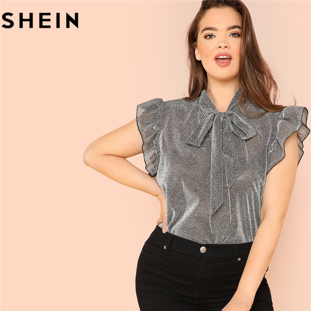 d4f233bd051b84 SHEIN Grey Ruffle Trim Tie Neck Plus Size Women Thin Blouses Summer  Polyester Sleeveless Elegant Office Lady Solid Top Blouse