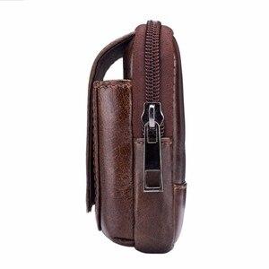 Image 4 - BULL CAPTAIN Leather Famous Brand Men Cell Mobile Phone Case Cover Purse Cigarette Money Hip Belt Waist Bag Wallet Gift