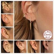 BOAKO Dainty Small 925 Sterling Silver Earrings For Women Stud Gothic Girl Hoops Ear Bone aretes Punk Jewelry Z5