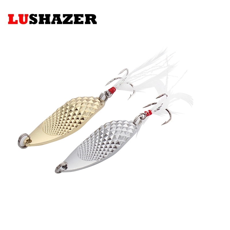 LUSHAZER Fishing lure spoon metal baits 10g15g treble fishing hooks carp stainless steel lures equipment isca artificial tackle mymei 9 compartments plastic fishing lures spoon hooks baits hook tackle storage box