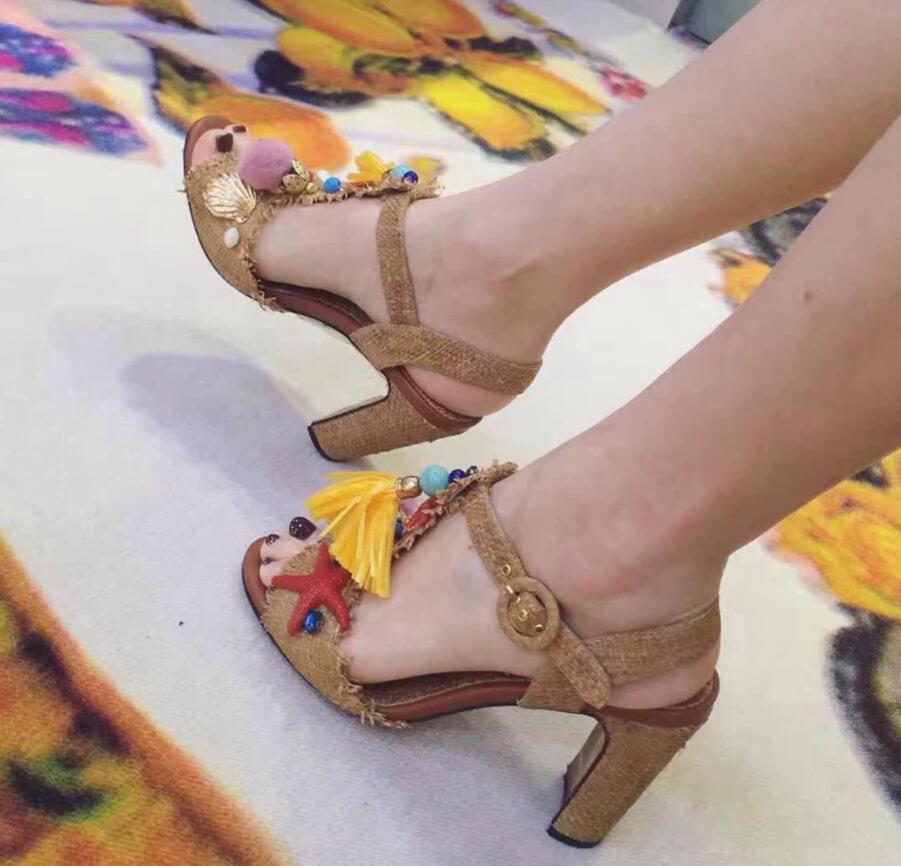 2017 Vintage Beading Fringe Embellished High Heel Ankle Strap Sandals Hot Sale Dress Shoes Women wholesale drop shipping hot sale halter beading sequins short homecoming dress