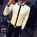 2017 Blanco Camisas Para Hombre Trajes Del Club Negro Vestido de Camisa de Hombre Color Block Camisa Sociales Slim Fit Moda Chemise Homme Manche Longue