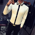 2017 White Shirts Mens Club Outfits Black Dress Shirt Man Color Block Social Camisa Slim Fit Fashion Chemise Homme Manche Longue