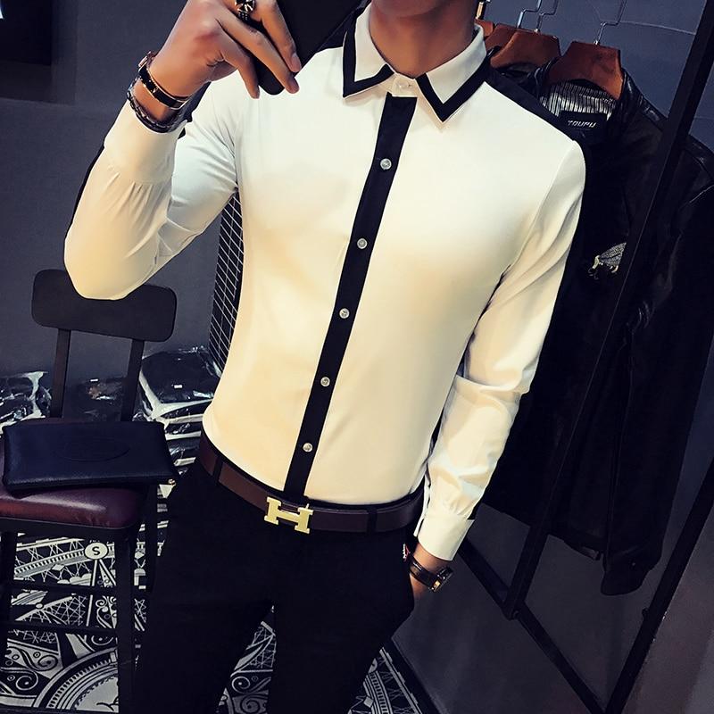 2017 White Shirts Mens Club Outfits Black Dress Shirt Man Color Block Social Camisa Slim Fit Fashion Chemise Homme Manche Longue