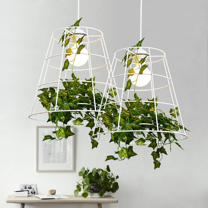 Green Plant Pendant Light Nordic Hanging Pendant Lights Fixture Dining Room Restaurant Home Indoor Lighting White Droplight 30cm