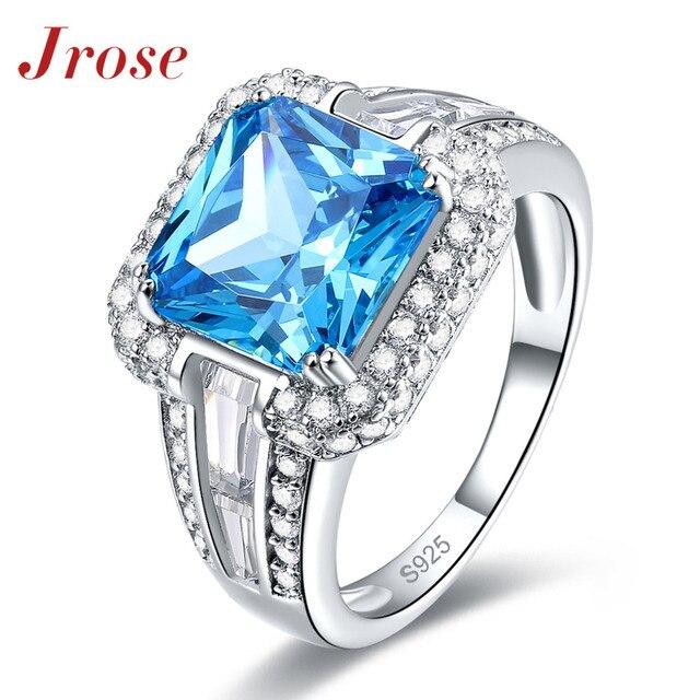 Jrose Princess Cut Cool Great Fine Jewelry Sea Blue Topaz & White CZ Diamond 925 Sterling Silver Ring For Men Wholesale Gift