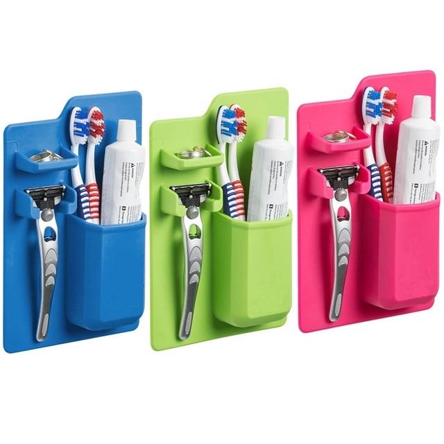 New Silicone Bathroom Organizer Mighty Toothbrush Holder ...