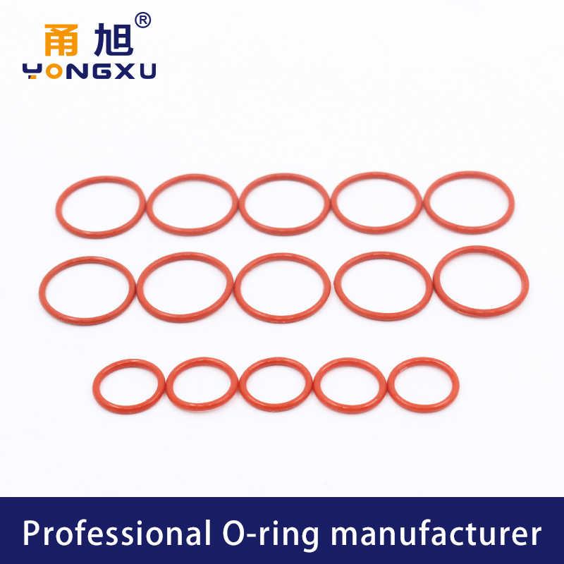 2 sztuk/partia czerwony o-ring silikonowy silikonowy/VMQ 2mm grubość OD21/22/23/24/25/26/27/28/29/30mm O pierścień uszczelniający gumowa uszczelka pierścienie