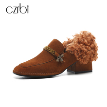CZRBT New Arrival Women Shoes Winter Fashion Genuine Leather Flats Women Square Toe Metal Chain Warm Wool Blend Silp On Loafers