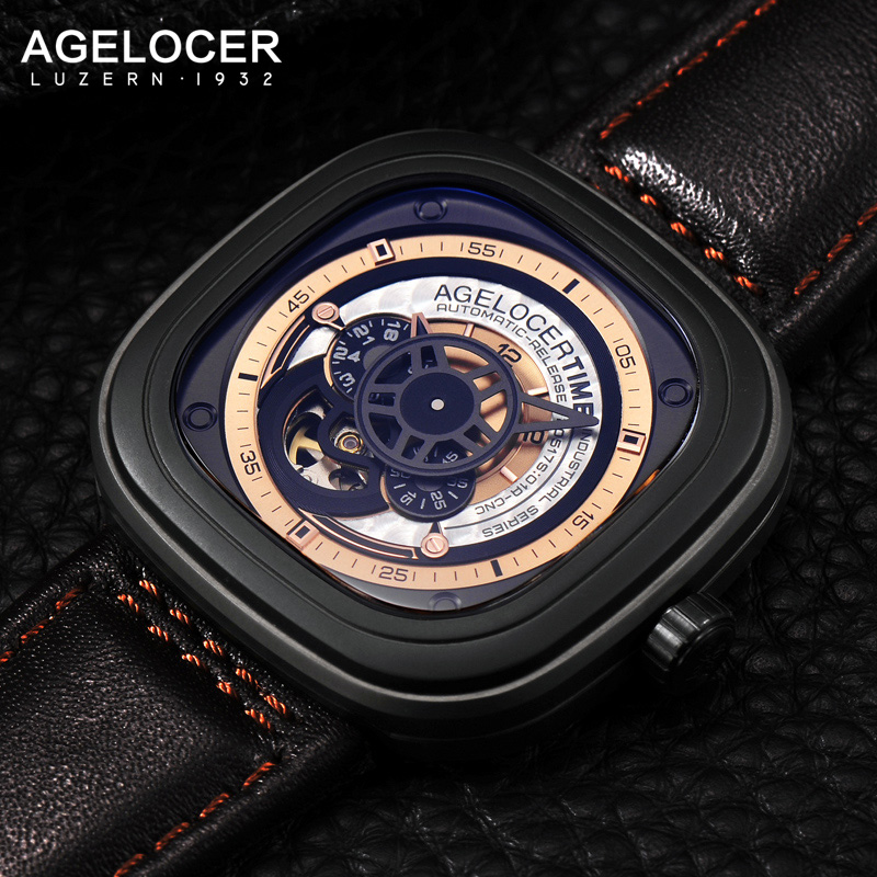 Agelocer Luxury Brand Automatic Mechanical Watch Men Luxury Genuine Leather Strap Sapphire Glass Sport Wristwatch Mens Gift luxury watch brand agelocer vogue automatic watch steel luxury men s watch skeleton mechanical watch with original gift box