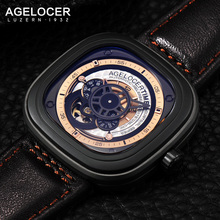 Agelocer Luxury Brand Automatic Mechanical Watch Men Luxury Genuine Leather Strap Sapphire Glass Sport Wristwatch Mens Gift