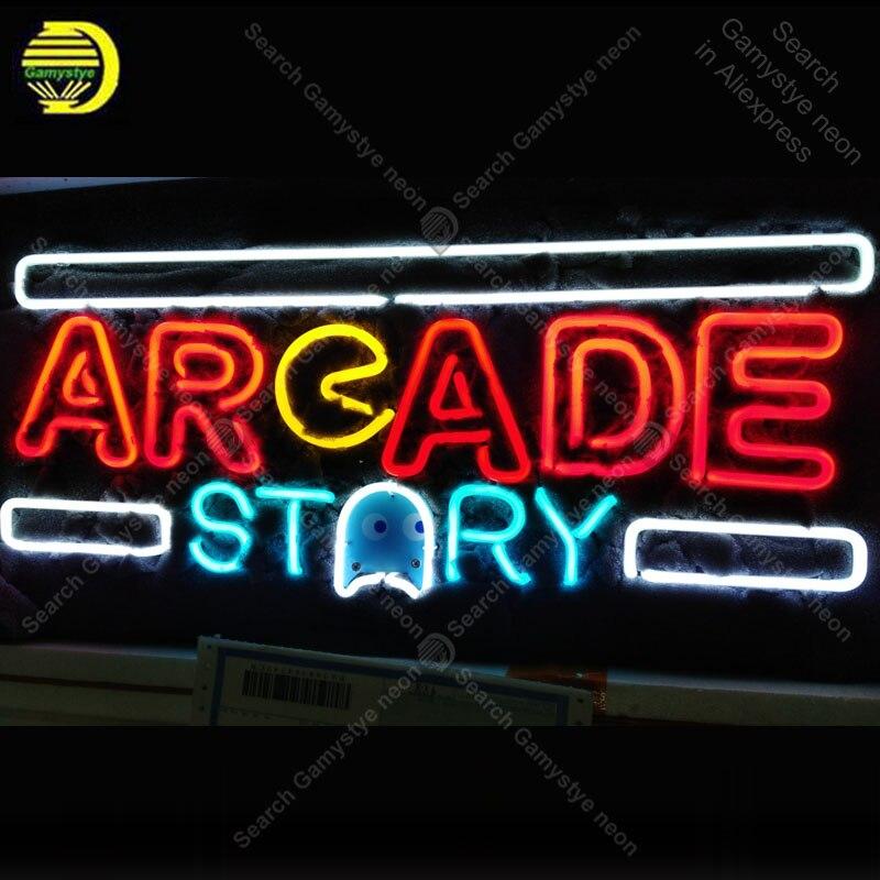 Enseigne au néon pour Histoire D'arcade néon Signe Bière Bar Néon Signe de lumières de Tube de verre Emblématique Publicité Lumière Jeu bar Signes VD