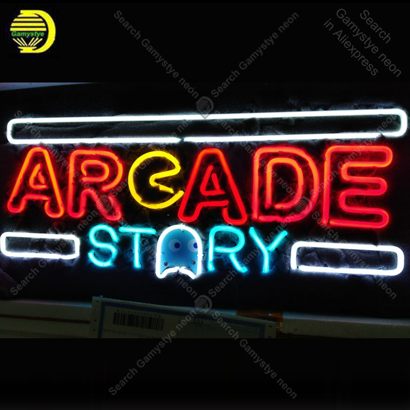 Neon Sign For Arcade Story Neon Bulb Sign Beer Bar Pub Neon Lights Sign Glass Tube Iconic Advertise Light Game Room Bar Signs Vd