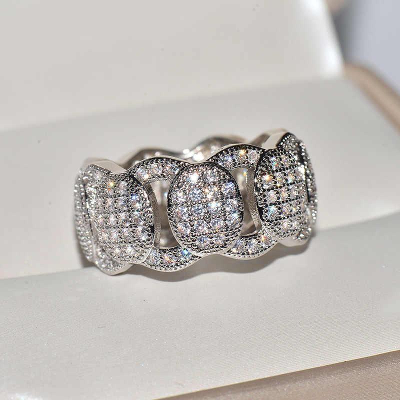 Мужское женское кольцо с кристаллами из циркония, высокое качество, серебряное золото, свадебные украшения, обещающее милое обручальное кольцо