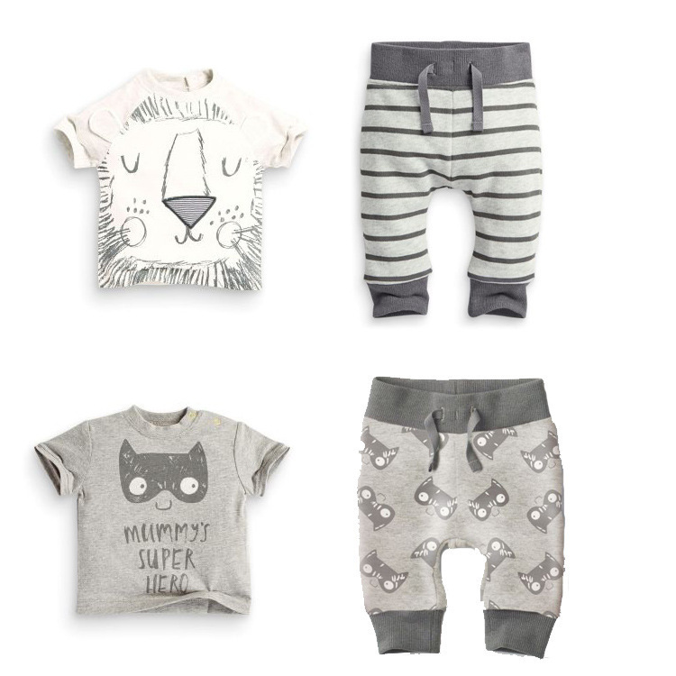Retail 2016 summer infant clothes baby clothes set Cotton little monsters and the lions short sleeve 2pcs baby boy clothes