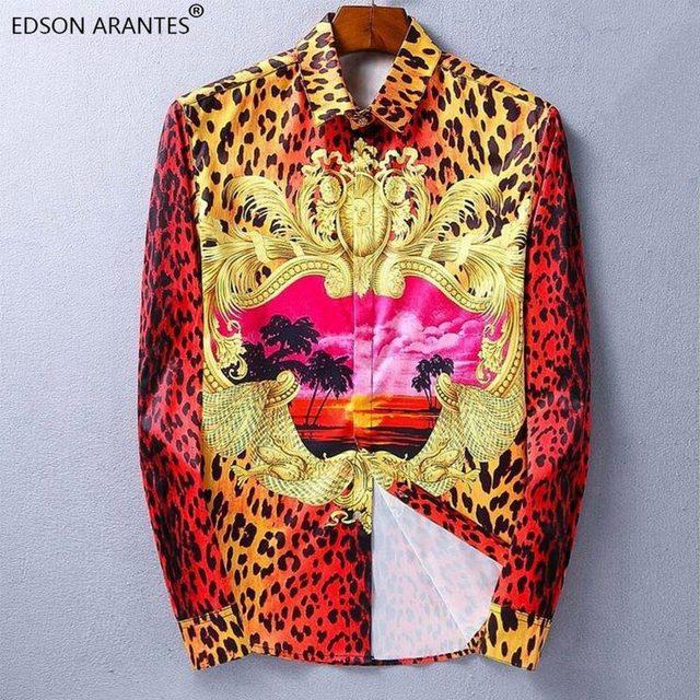79b6c3f687d8 EDSON ARANTES Vintage Shirt Men Long Sleeve Male Shirt Luxury Leopard Beach  Hawaii Print Dress Shirt Casual Camisa Hawaia Hombre