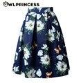 Z & koze 2016 nueva marca de las mujeres de cintura alta una línea de falda del tutú del satén floral faldas plisadas vestido de bola vintage audrey estilo hepburn