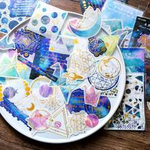 60 pz/lotto Planet Moon Stars doratura adesivi decorativi adesivi adesivi decorazione fai da te diario adesivi di cancelleria regalo per bambini