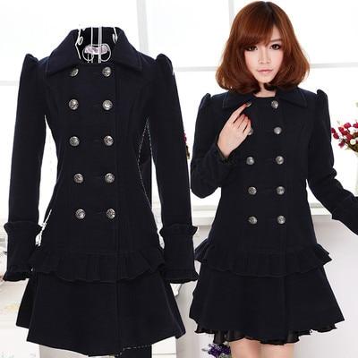 Online Shop Winter Women Military Style Slim BLUE Coat Jackets ...