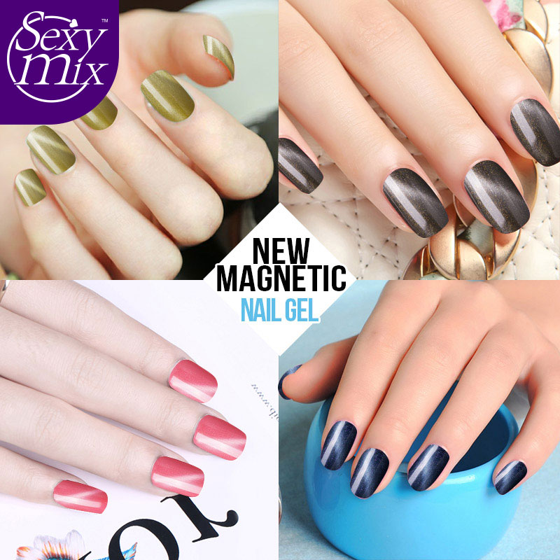 Sexy Mix 3pcs Lot Magnetic Cat Eye Gel Nail Polish Set Professional Red Grey Colorful With One Magnet In From Beauty Health